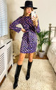 Wrap Mini Dress in Purple Zebra Animal print by Jenerique