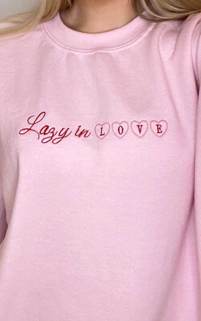 Valentines Pink Embroidered Sweatshirt by LazyGirlsClub