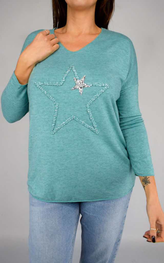 Green Top Embellished With Star Design by Tilly Tizarro