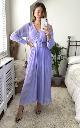 Pleated Belted Jumpsuit In Lilac by KURT MULLER