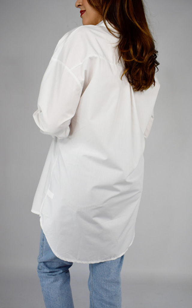 White Oversized Front Button Shirt by Tilly Tizarro