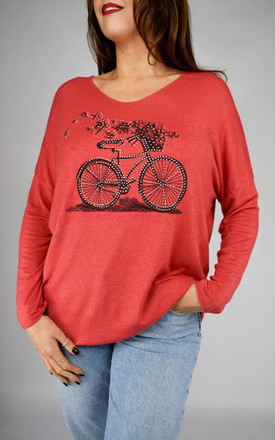 Long Sleeved Red Top With Bicycle Design by Tilly Tizarro