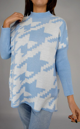 Oversized High Neck Blue And White Jumper by Tilly Tizarro