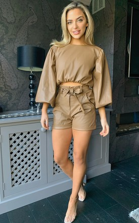 Yazi Camel Faux Leather Long Bell Sleeves Stylish Crop top by Miss Diva