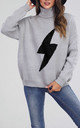 High Neck Light Grey Jumper With Black Super Bold Bolt by FS Collection