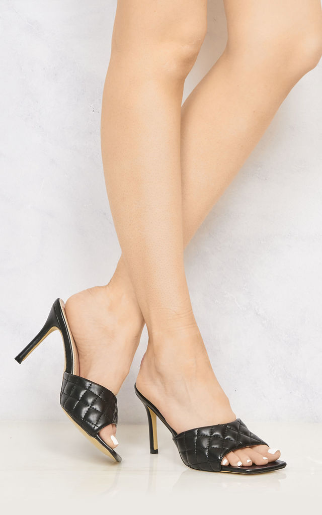 Marian Square Toe Quilted Stiletto Heel Mule In Black by Miss Diva