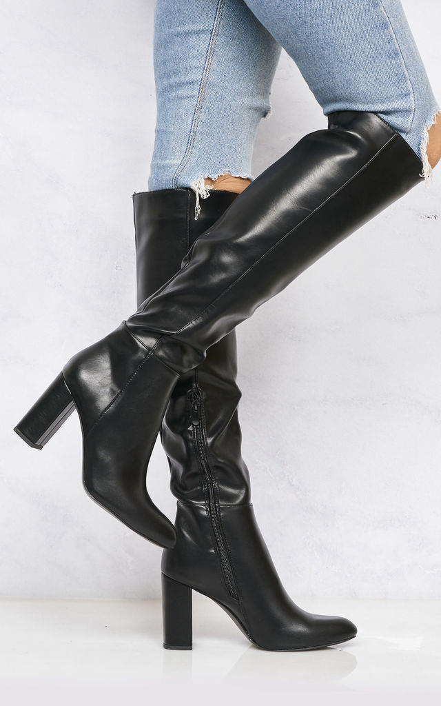 Hana Roundtoe Over The Knee Blockheel Boot In Black Matt by Miss Diva