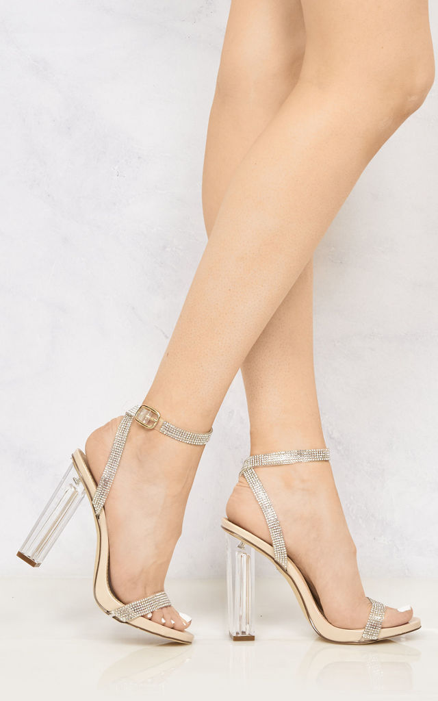 Marilyn Diamante Block Heels In Nude Patent by Miss Diva