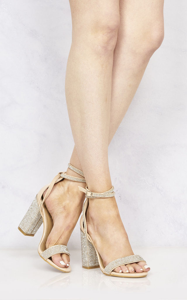 Karla Diamante Band & Heel Anklestrap Sandal In Nude by Miss Diva