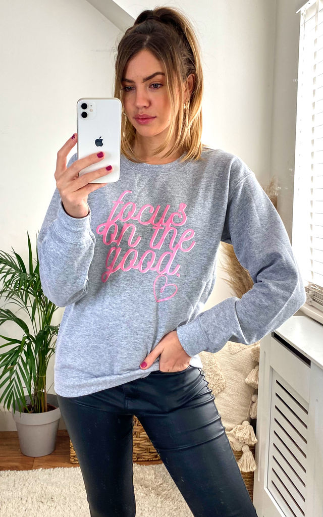 Grey Jumper Sweatshirt With Pink Positive Quote by Fearless Alice Custom