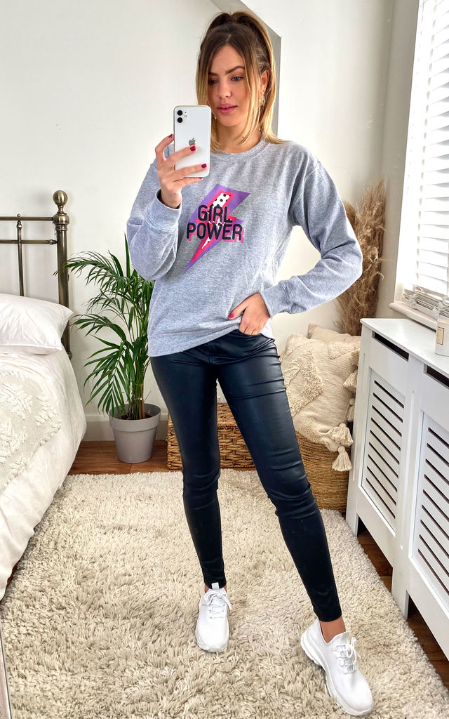Grey Jumper Sweatshirt with pink Girl Power Print by Fearless Alice Custom
