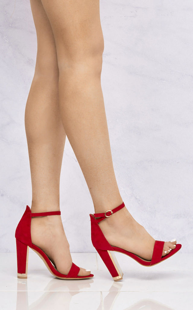 Bronx Gold Lined Heel Anklestrap Sandal In Red Suede by Miss Diva