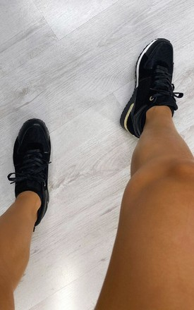 Jamelia Lace Up Trainers in Black by IKRUSH