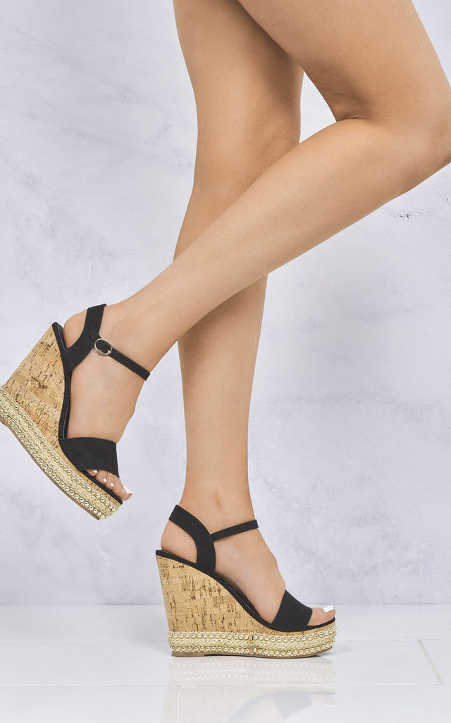 Sydney Flat Stud Sole Anklestrap Wedge In Black Suede by Miss Diva