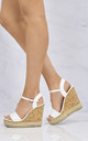 Sydney Flat Stud Sole Anklestrap Wedge In White Matt by Miss Diva