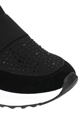 Laura Velcro Strap & Diamante Trainer In Black by Miss Diva