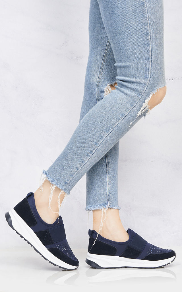 Laura Velcro Strap & Diamante Trainer In Navy by Miss Diva