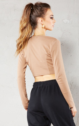 Caramel Ribbed Eyelet Long Sleeved Crop Top by Call Me Eden