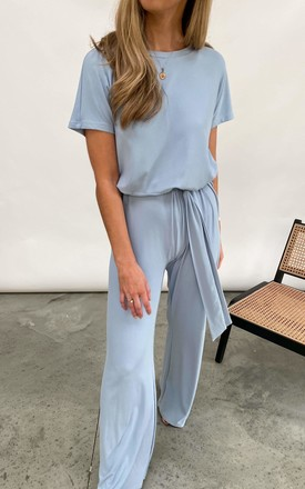 Claude Ribbed Loungewear Jumpsuit - Blue by Pretty Lavish