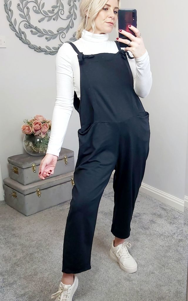 Slouch Oversized Cotton Dungarees In Black by FOXY FROX
