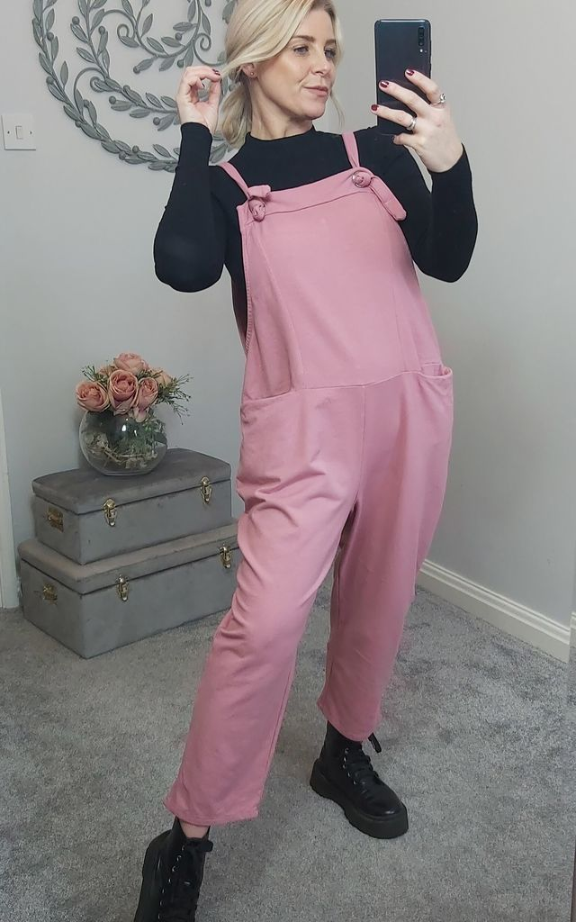 Slouch Oversized Cotton Dungarees In Salmon Pink by FOXY FROX