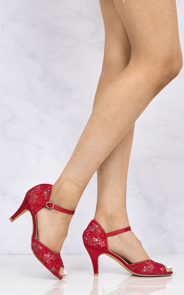 Myrana Lace Anklestrap Sandal In Red by Miss Diva