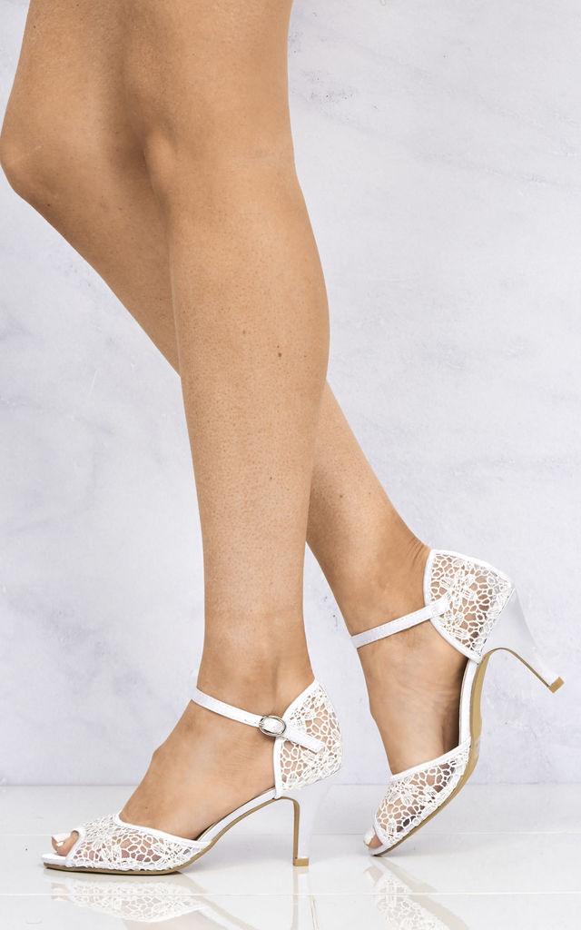 Myrana Lace Anklestrap Sandal In White by Miss Diva