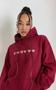Oversized Hoodie in Deep Red with Leopard Print Hearts by Lime Blonde