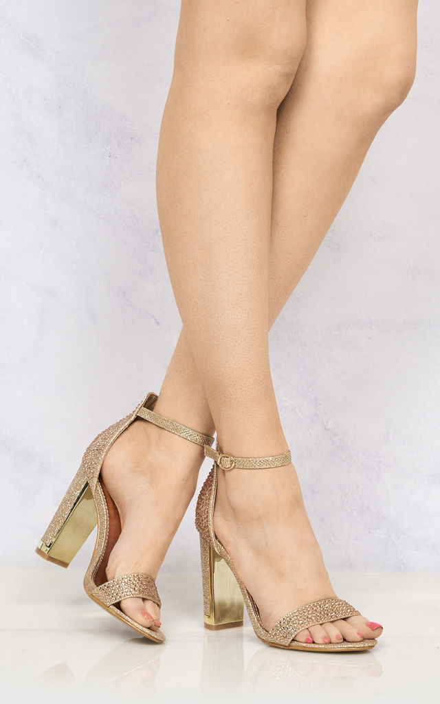 Lockie Gold Trim Heel Diamante Sandal In Champagne by Miss Diva
