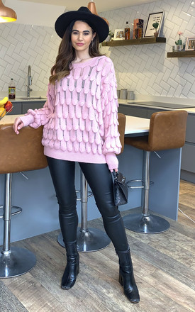 Eleni Scallop Jumper In Pink by Blue Vanilla