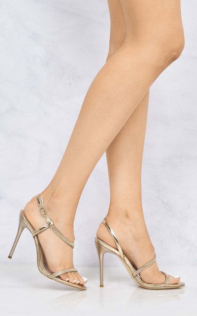 Savannah Anklestrap Diamante High Heel In Rose Gold by Miss Diva