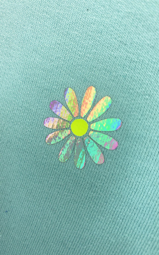 Relaxed Fit Jumper in Mint Green with Holo Daisy Flower by Lime Blonde