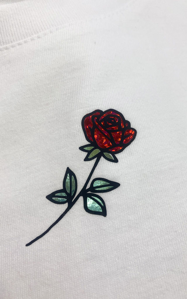Glitter Rose Flower Summer T Shirt in White by LimeBlonde