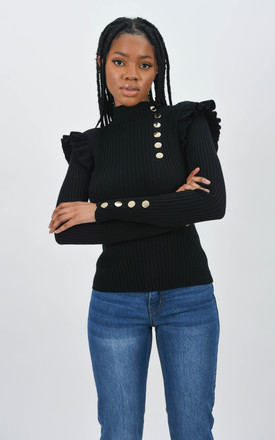 Black Ribbed Frill Trim Top With Gold Button Detail by Boutique Store
