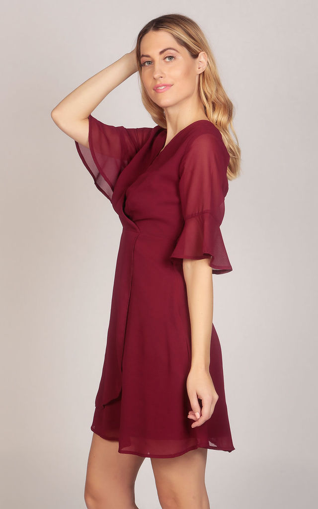 Flute Sleeve Wrap Style Dress in Wine Red by TENKI LONDON