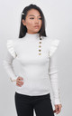 White Ribbed Frill Trim Top With Gold Button Detail by Boutique Store