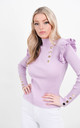 Lilac Ribbed Frill Trim Top With Gold Button Detail by Boutique Store