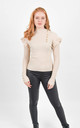 Beige Ribbed Frill Trim Top With Gold Button Detail by Boutique Store