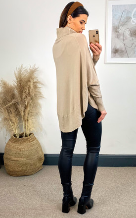 Camel Roll Neck Cape Jumper by APRICOT