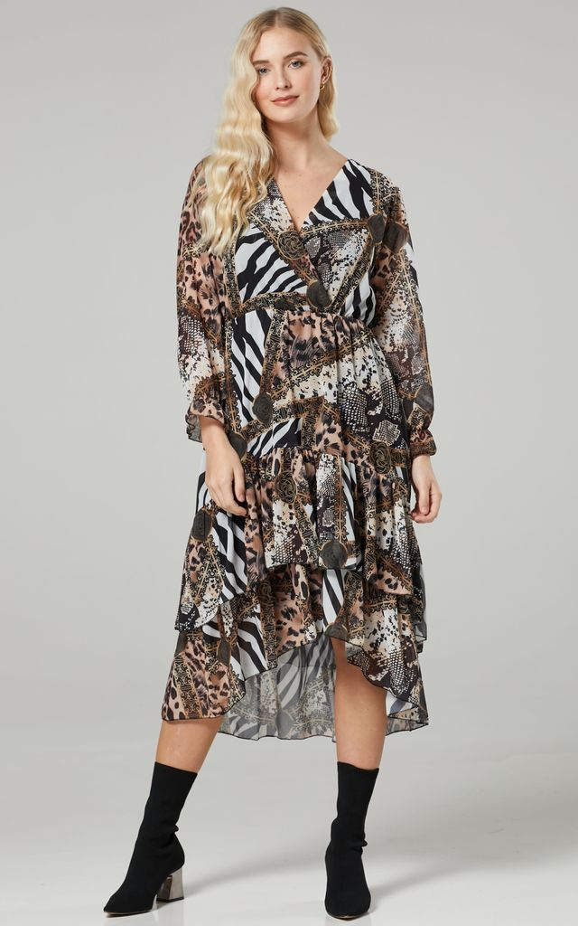 Women's Animal Print High Low Wrap Midi Dress by Chelsea Clark
