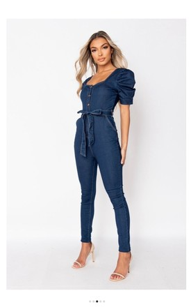 Denim Belted Puff Sleeve Jumpsuit by Pink Lemonade Boutique