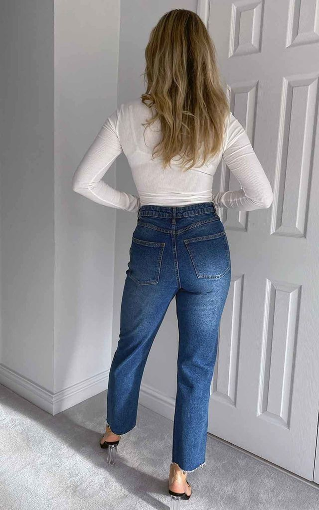 Tanya Straight Leg High Waisted Blue Jean by Urban Bliss