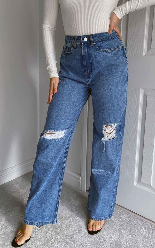 Amy Ripped High Waisted Wide Leg Blue Jean by Urban Bliss