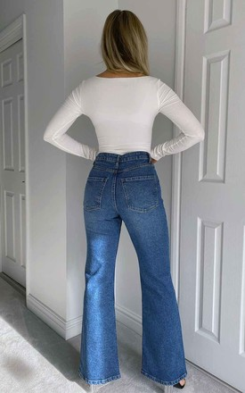 Hayley High Waisted Straight Flare Blue Jean by Urban Bliss