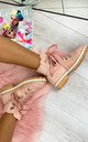 Elsa Lace Up Ankle Boots in Pink by Larena Fashion