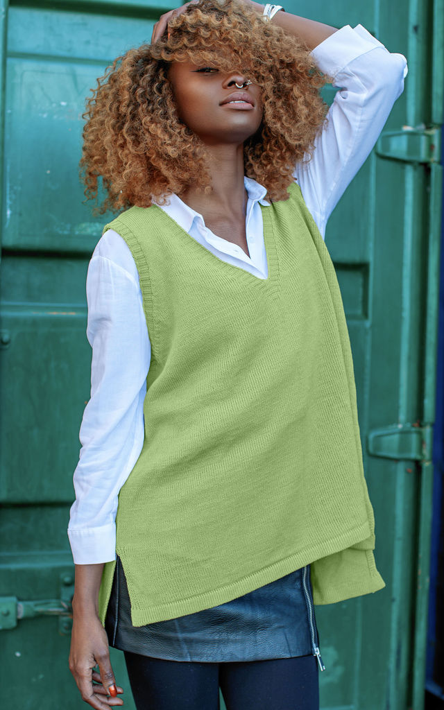 Lime V Neck Sweater Vest Tank by In The Knitwear