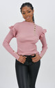Pink Ribbed Frill Trim Top With Gold Button Detail by Boutique Store