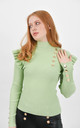 Green Ribbed Frill Trim Top With Gold Button Detail by Boutique Store