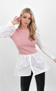 Pink Overlay Sweater Detail Puff Sleeve Shirt by Boutique Store