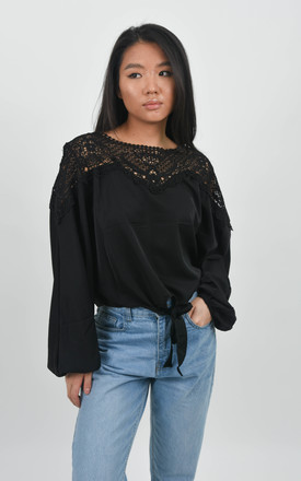 Black Crochet Front Tie Batwing Sleeve Blouse by Boutique Store